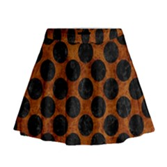 Circles2 Black Marble & Brown Marble (r) Mini Flare Skirt