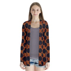 Circles2 Black Marble & Brown Marble (r) Drape Collar Cardigan