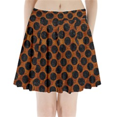 Circles2 Black Marble & Brown Marble (r) Pleated Mini Skirt