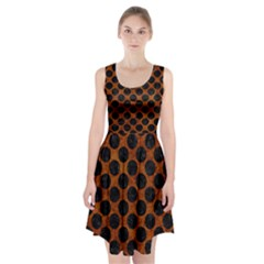 Circles2 Black Marble & Brown Marble (r) Racerback Midi Dress