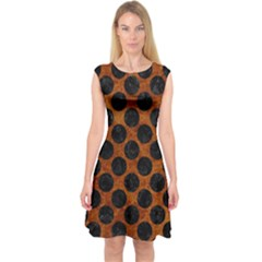 Circles2 Black Marble & Brown Marble (r) Capsleeve Midi Dress