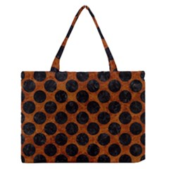 Circles2 Black Marble & Brown Marble (r) Medium Zipper Tote Bag