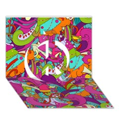 Christmas Elements With Doodle Seamless Pattern Vector Peace Sign 3D Greeting Card (7x5)