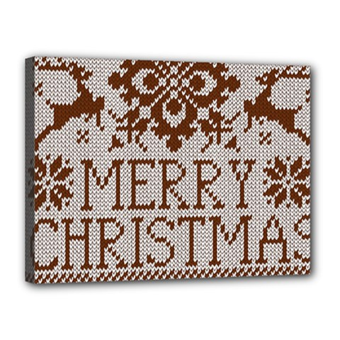Christmas Elements With Knitted Pattern Vector Canvas 16  X 12