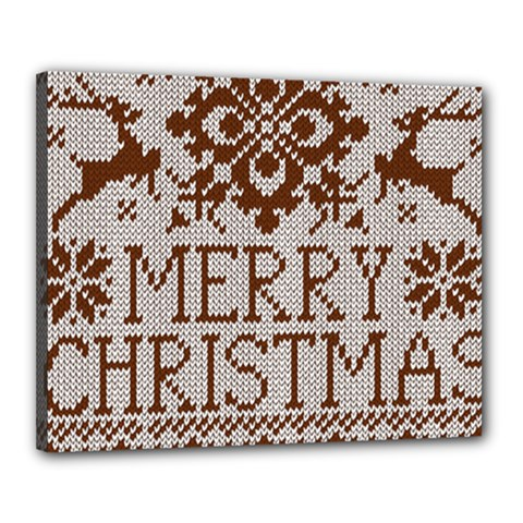 Christmas Elements With Knitted Pattern Vector Canvas 20  X 16