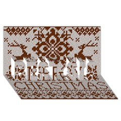 Christmas Elements With Knitted Pattern Vector Best Sis 3d Greeting Card (8x4)