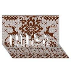 Christmas Elements With Knitted Pattern Vector Hugs 3d Greeting Card (8x4)