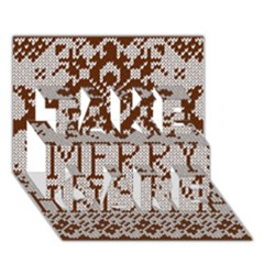 Christmas Elements With Knitted Pattern Vector Take Care 3d Greeting Card (7x5)