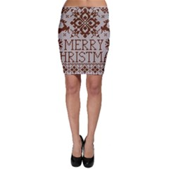 Christmas Elements With Knitted Pattern Vector Bodycon Skirt