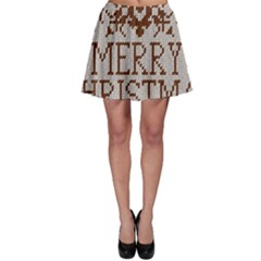 Christmas Elements With Knitted Pattern Vector Skater Skirt
