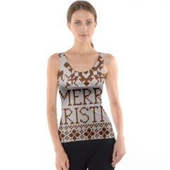 Christmas Elements With Knitted Pattern Vector Tank Top