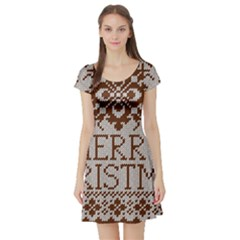 Christmas Elements With Knitted Pattern Vector Short Sleeve Skater Dress