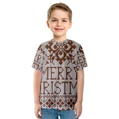 Christmas Elements With Knitted Pattern Vector Kids  Sport Mesh Tee