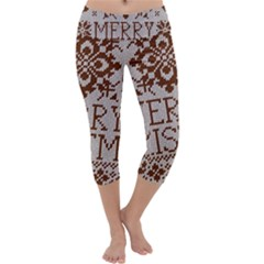 Christmas Elements With Knitted Pattern Vector Capri Yoga Leggings