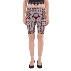 Christmas Elements With Knitted Pattern Vector Yoga Cropped Leggings