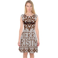 Christmas Elements With Knitted Pattern Vector Capsleeve Midi Dress