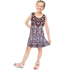 Christmas Elements With Knitted Pattern Vector Kids  Tunic Dress