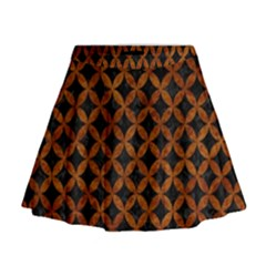 Circles3 Black Marble & Brown Marble Mini Flare Skirt