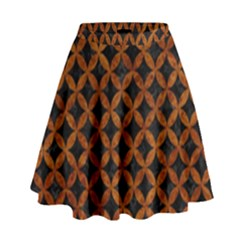 Circles3 Black Marble & Brown Marble High Waist Skirt