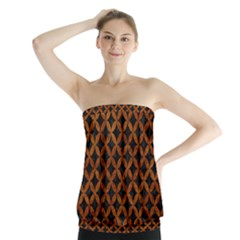 Circles3 Black Marble & Brown Marble Strapless Top