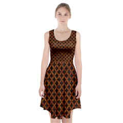 Circles3 Black Marble & Brown Marble Racerback Midi Dress