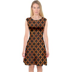 Circles3 Black Marble & Brown Marble Capsleeve Midi Dress