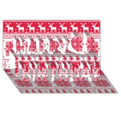 Christmas Patterns Happy Birthday 3d Greeting Card (8x4)