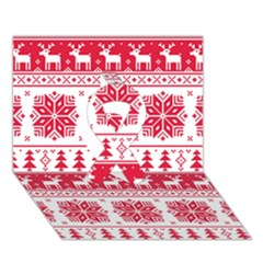 Christmas Patterns Ribbon 3d Greeting Card (7x5)