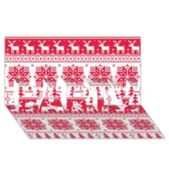 Christmas Patterns Party 3d Greeting Card (8x4)
