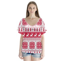 Christmas Patterns Flutter Sleeve Top