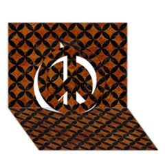 Circles3 Black Marble & Brown Marble (r) Peace Sign 3d Greeting Card (7x5)