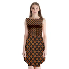 Circles3 Black Marble & Brown Marble (r) Sleeveless Chiffon Dress