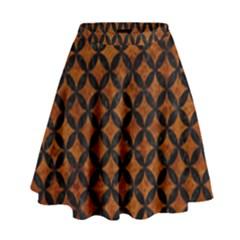 Circles3 Black Marble & Brown Marble (r) High Waist Skirt