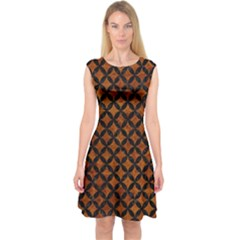 Circles3 Black Marble & Brown Marble (r) Capsleeve Midi Dress