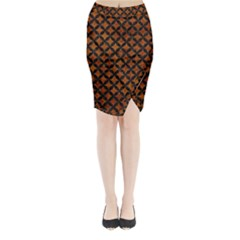 Circles3 Black Marble & Brown Marble (r) Midi Wrap Pencil Skirt