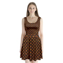 Circles3 Black Marble & Brown Marble (r) Split Back Mini Dress