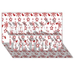 Christmas Pattern  Happy Birthday 3d Greeting Card (8x4)