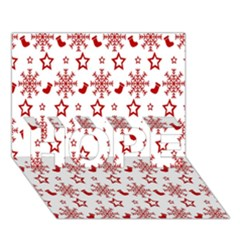 Christmas Pattern  Hope 3d Greeting Card (7x5)