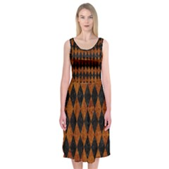 Diamond1 Black Marble & Brown Marble Midi Sleeveless Dress