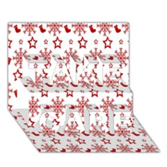Christmas Pattern  Take Care 3d Greeting Card (7x5)