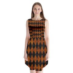 Diamond1 Black Marble & Brown Marble Sleeveless Chiffon Dress