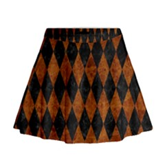 Diamond1 Black Marble & Brown Marble Mini Flare Skirt