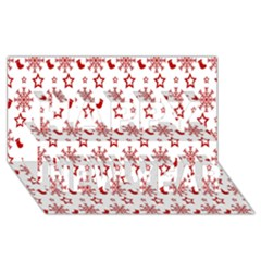 Christmas Pattern  Happy New Year 3D Greeting Card (8x4)