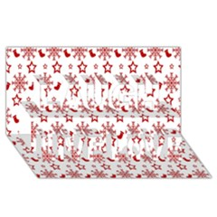 Christmas Pattern  Laugh Live Love 3D Greeting Card (8x4)