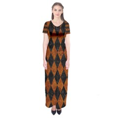 Diamond1 Black Marble & Brown Marble Short Sleeve Maxi Dress
