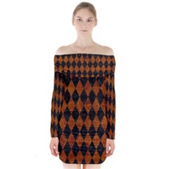 Diamond1 Black Marble & Brown Marble Long Sleeve Off Shoulder Dress