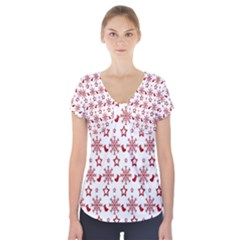 Christmas Pattern  Short Sleeve Front Detail Top