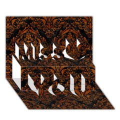 Damask1 Black Marble & Brown Marble Miss You 3d Greeting Card (7x5)