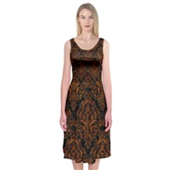 Damask1 Black Marble & Brown Marble Midi Sleeveless Dress