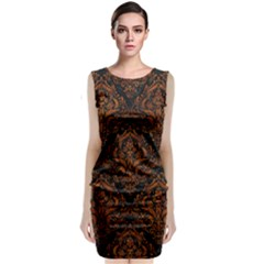 Damask1 Black Marble & Brown Marble Classic Sleeveless Midi Dress